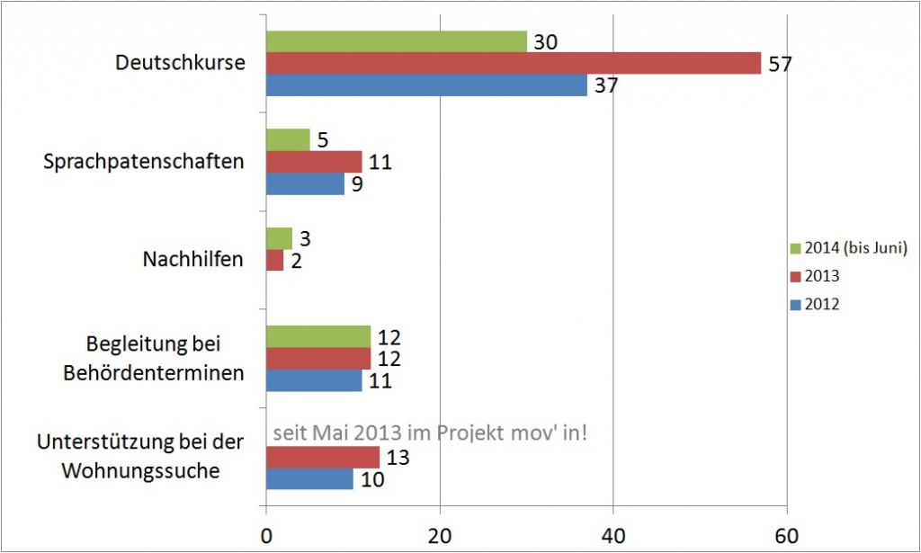 Statistik: Tätigkeitsbereiche der Freiwilligen
